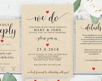 Wedding Invitation Templates, Printable Wedding Invitation, Instant Download, Invitation Set, Editable PDF, Editable Wedding, DIY, 6021