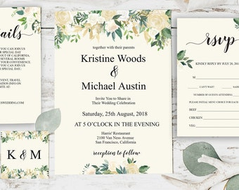 Invitation Template, Wedding Invitation Printable, Floral Wedding, Invitation Template, Wedding Invitation Printable, Invitation Set, BD6034