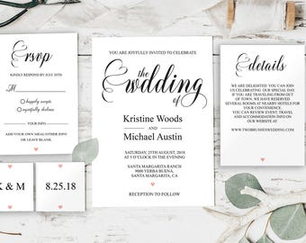 Wedding Invitation Template, Invitation Template, Wedding Invitation, Printable Invitation, Printable Wedding, Wedding Invite, DIY, BD6045