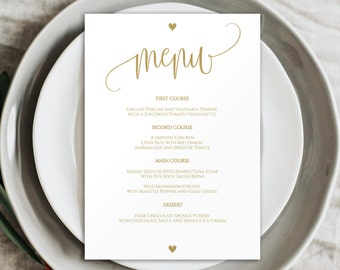 Gold Wedding Menu, Wedding Menu Printable, Printable Menu, Wedding Menu Template, Dinner Menu, DIY Wedding Menu, DIY Menu Template, BD6022_1
