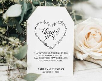 Wedding Favor Tags Printable, Wedding Favor Tag Template, Printable Favor Tags, Thank You Tags, Rustic Wedding Favor Tags, DIY, BD6054