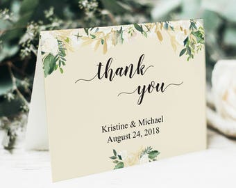 Printable Thank You Cards for Wedding, Wedding Thank You, Thank You Cards, Wedding Template, Vintage Wedding, Personalized Cards, Greeting