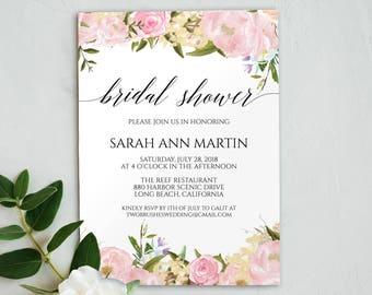 Printable Invitation, Peony Bridal Shower, Wedding Shower, Shower Invitation, Peony Bridal Shower Invitations, Bridal Shower Invite, 6068