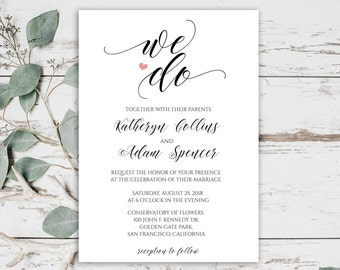 We Do, Rustic Wedding Invitation Printables, We Do Wedding Invitation Template, Rustic Wedding, Editable Invitation, Instant Download, 0017