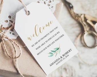 Wedding Welcome Tag, Wedding Favours for Guests, Rustic Wedding Favor Tags, Gifts Tags, Welcome Tags, Personalized Favors, Calligraphy, 6081