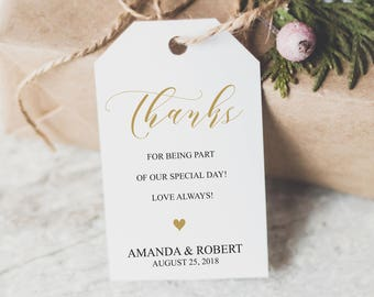 Wedding Favor Tags, Thank You Tags, Thank You Tags Template, Wedding Tags, Wedding Favor Tags Printable, Gold Gift Tag, Wedding Favour, 6082