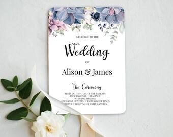 wedding program fan etsy