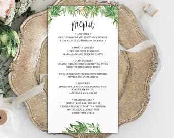 Wedding Menu Template, Menu Template, Editable Menu Template, Menu Printable Wedding, Menu Printable Template, Wedding Menu Card, BD6044