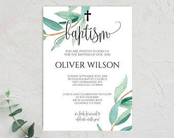 Baptism Invitation Boy Instant Download Template Printable Christening PDF 0103