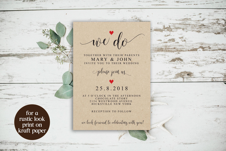 We Do Wedding Invitation Editable Invitation Template Rustic