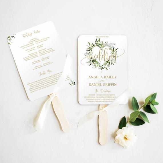 Wedding Program Fan Template Instant
