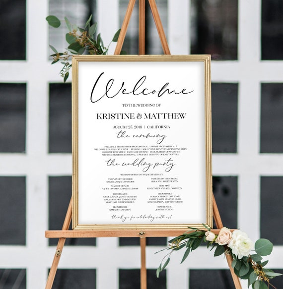 large wedding welcome sign gold wedding program sign wedding etsy