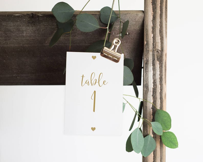 5X7 Table Numbers 0029G Gold Table Numbers Gold Table Number Printables PDF 4x6 Table Numbers Wedding Numbers Table Number Template
