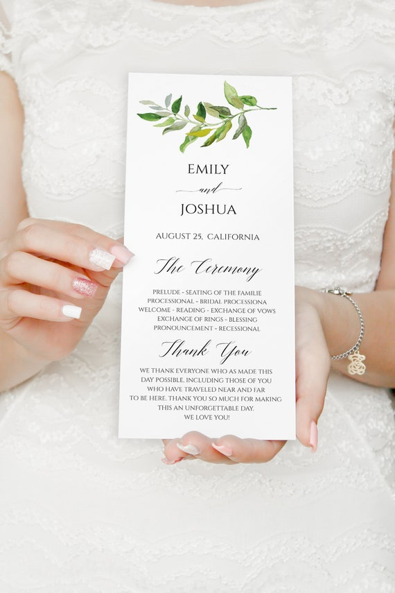 greenery wedding program template wedding program instant etsy