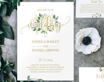 Gold Wedding Program Template, Instant Download, Program Template, Rustic Wedding Fan Program, DIY Wedding Program, Wedding Template, 6047