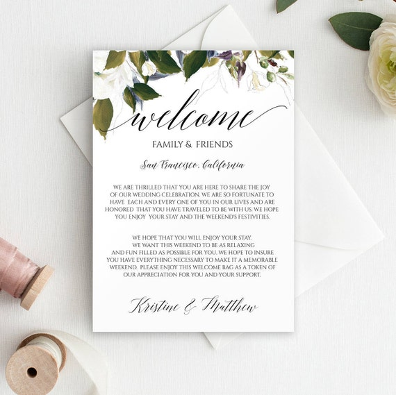 Wedding Welcome Bag Letter Printable Welcome Letter For Etsy