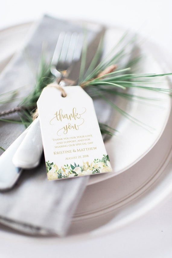 Thank You Wedding Favor Tags Wedding Thank You Tag Template Etsy
