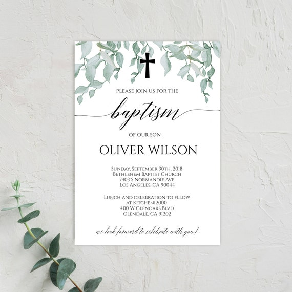 Baptism Invitation Boy Instant Download Baptism Invitation Etsy