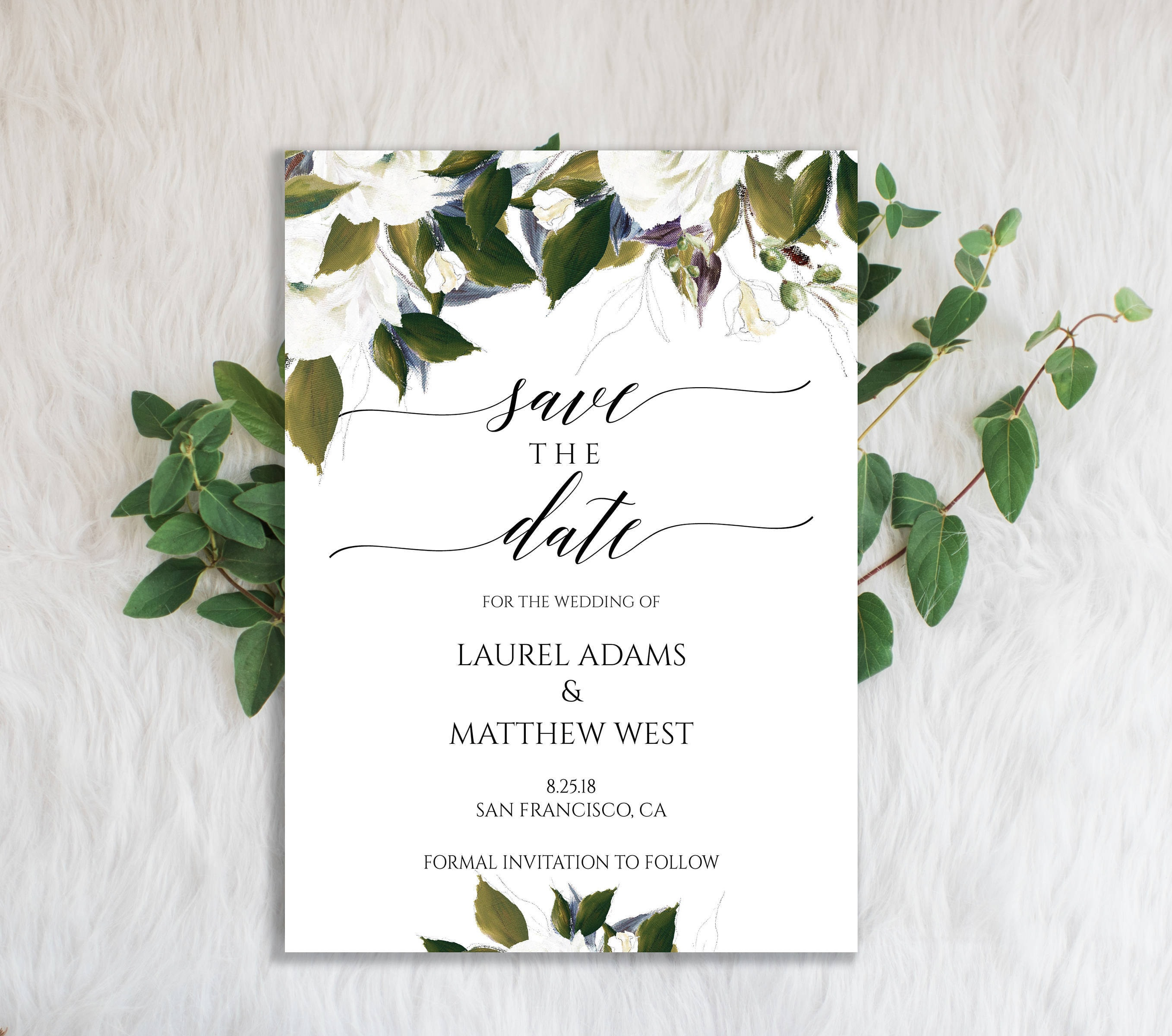 Greenery Wedding Save the Date Template Save the Date  Etsy