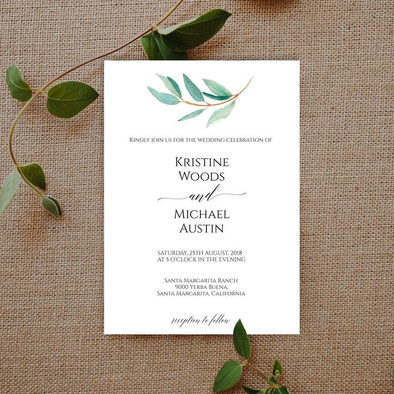 Greenery Wedding Invitation Template Set Printable BD6067
