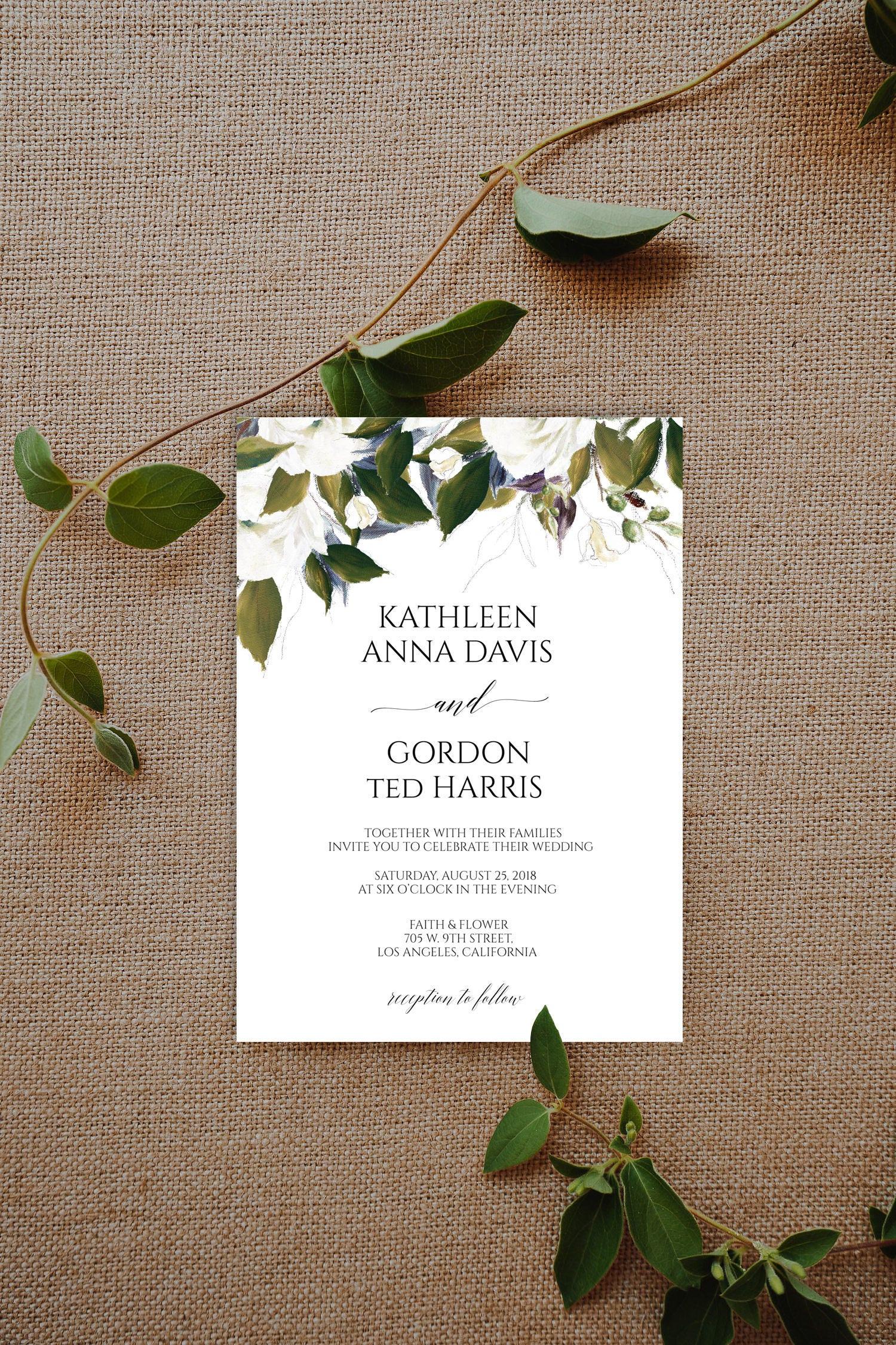 Greenery Wedding Invitation Template Wedding Suite