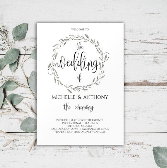 wedding ceremony program templates wedding program printable etsy