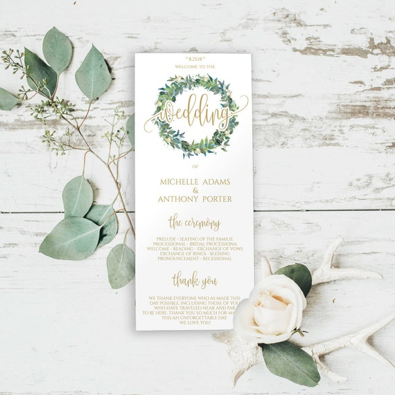 Tea Length Programs Template Wedding Program Order