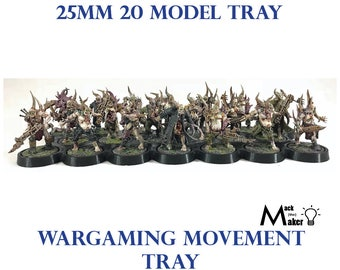 20 model 25mm  base Movement Tray Warhammer 40K and Age of Sigmar, Great for  Poxwalkers,  Chaos and Genestealer Cultists
