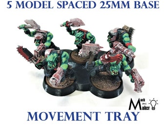 25mm Base 5 model Warhammer 40K and Age of Sigmar Movement Tray Great for Ork Orukk Orc and Tyranid Genestealers