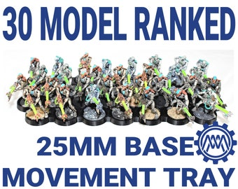30 model 25mm Base Movement Tray for Miniature Wargames like Warhammer 40K and Age of Sigmar