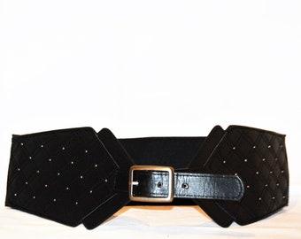 Vintage 80's Black And Silver Studded Elastic Waist Belt Size XL Women's Belts Accessories ChooseFlavor