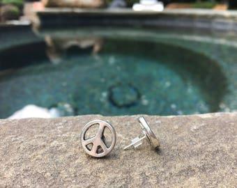 Peace Symbol Stud Earrings