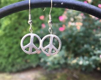 Silver Peace Symbol Drop Earrings