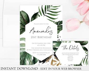 Tropical Birthday Invitation Template | Greenery Birthday Party Invitation Printable | INSTANT DOWNLOAD | Leaf Birthday Invite | Beach | PDF