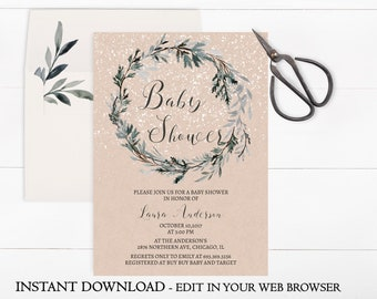 Winter baby shower invitations etsy winter baby shower invitation template christmas baby shower invitation printable instant download snow wreath greenery pdf filmwisefo