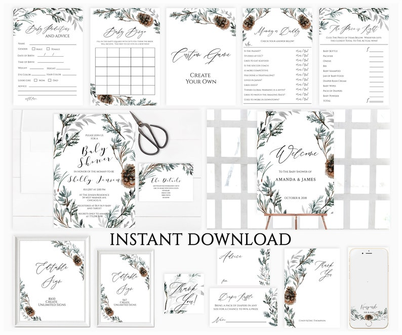 Winter Baby Shower Invitation Template Bundle Rustic INSTANT DOWNLOAD Greenery Printable Christmas Baby Shower Invitate Pinecone