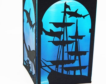 Paper Lanterns, Shark Gift, Birthday Decorations, Pirate Party, Sunken Ship, Candle Holder
