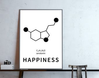 Poster: happiness, serotonin structural formula, molecular
