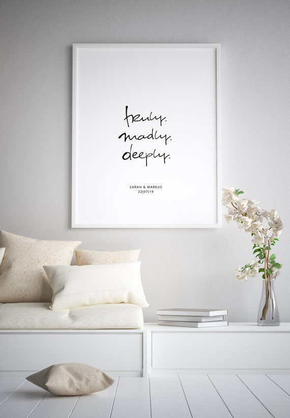 Poster mit Namen & Datum: truly madly deeply, sw