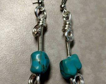 Sterling Silver plated wire and turquoise handmade dangle earrings