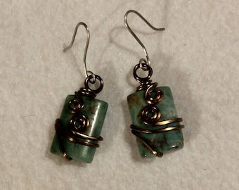 Dragons blood Jasper and antiqued copper wire wrapped handmade dangle earrings