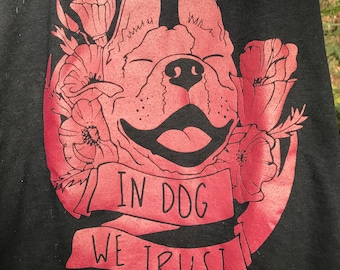 """Black and Burgundy """"In Dog We Trust"""" Tank top"""