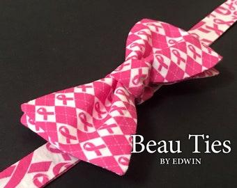2ea48ed094b8 Breast Cancer Awareness Reversible Self Tie Bow Tie. Pink Ribbon.