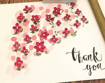 biglietto di ringraziamento dipinta di mano