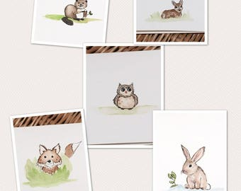 Set of five cards, woodland creatures