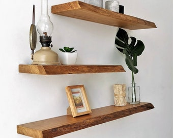 BestLoft® Wall shelf Ruby MIT and WITHOUT tree edge in oak wallboard with fastening in different sizes