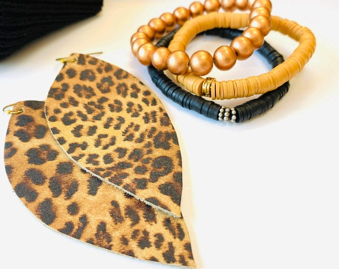 Featured listing image: Classic Leopard Leather Earrings