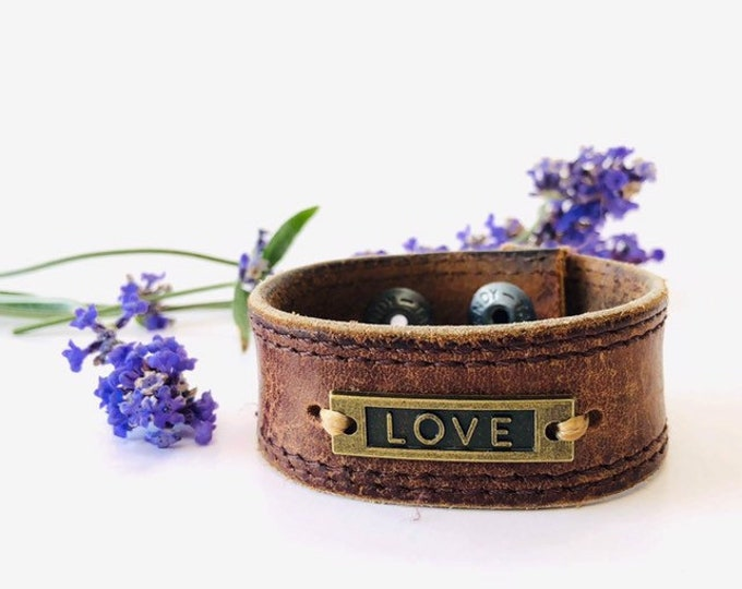 Featured listing image: Upcycled Distressed Leather Cuff w Love
