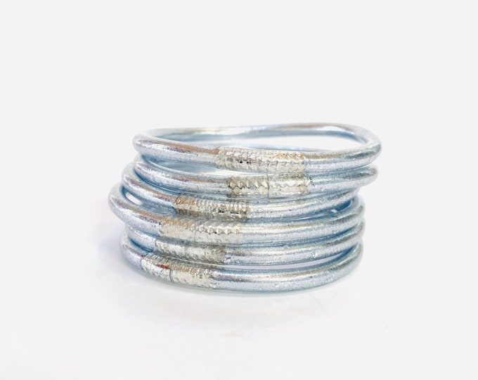 Featured listing image: Silver Leaf Filled Thai Bangles