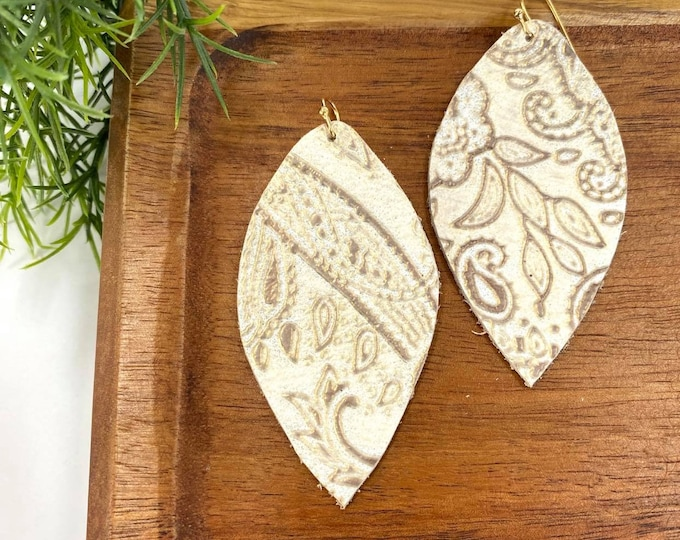 Featured listing image: Creamy Gold Paisley Leather Earrings